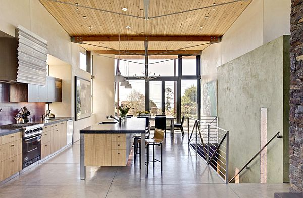 beautiful wood texture in the kitchen and dining room
