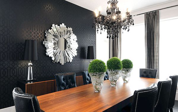 black themed living room with sunburst mirror Hot Home Trend: Sunburst Mirrors