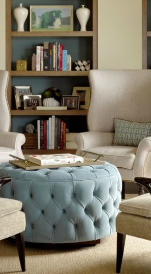 blue circle tufted ottoman