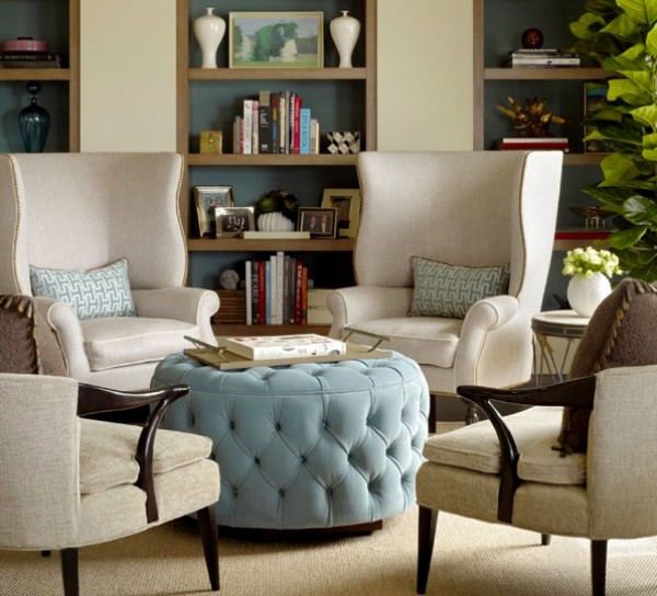 blue circle tufted ottoman e1348914189346 Choosing the Right Ottoman to Compliment your Sofa