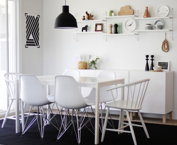 casual black and white dining room