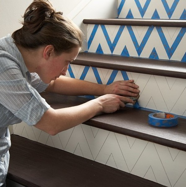 chevron DIY painted stairs