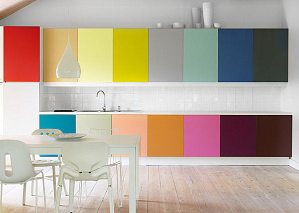 colorful cabinets in a modern kitchen