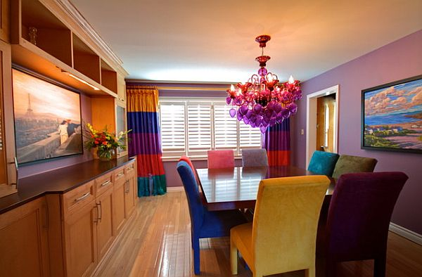 colorful dining room with square table