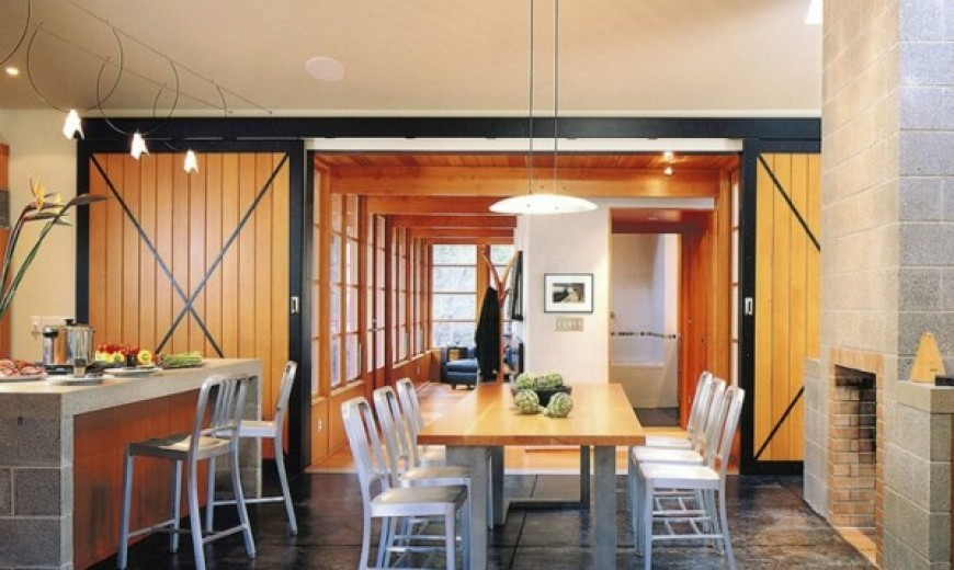 concrete interiors dining room