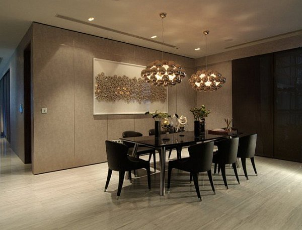 contemporary black chairs and dining table