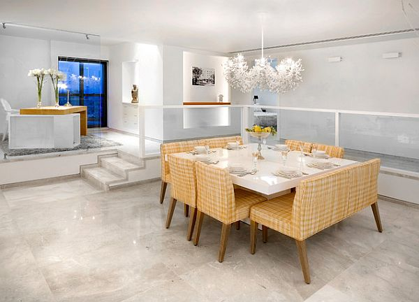 Contemporary dining room with white square table decoist