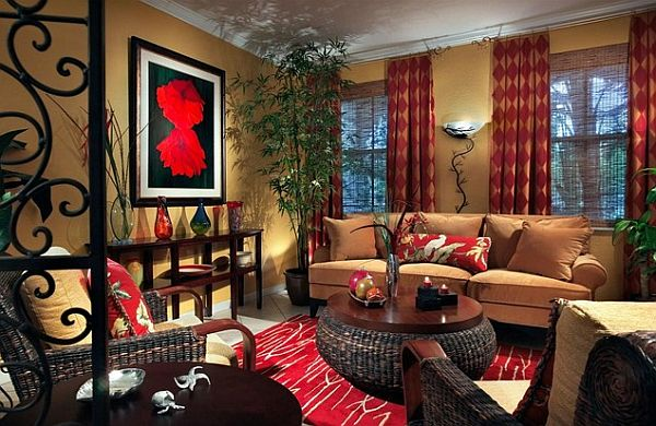 Contemporary living room with red tones decor decoist Red accents for living room