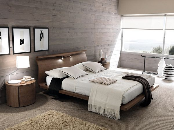 Contemporary Wood Wall Headboard Modern Minimalist Bedroom With Wood