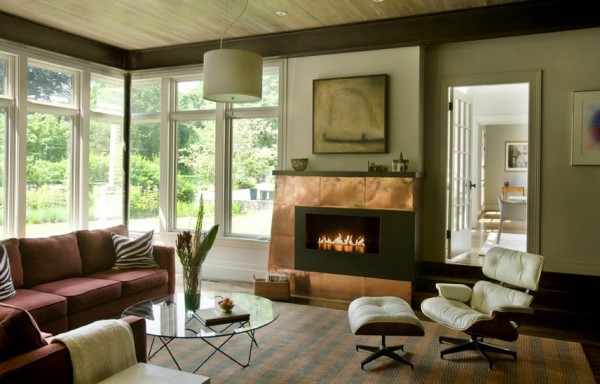 copper fireplace interiors