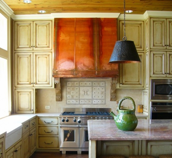 copper stove hood kitchen
