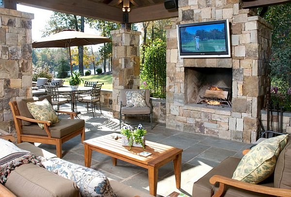 cozy outdoor retreat with plaqued stone