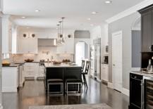 dark floors kitchen