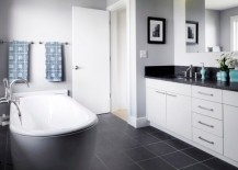 dark tile floor bathroom