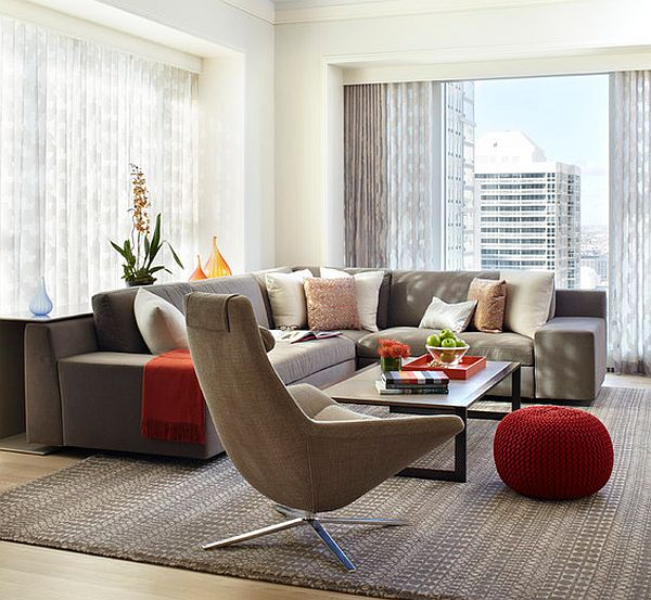decorating with red in a modern living room