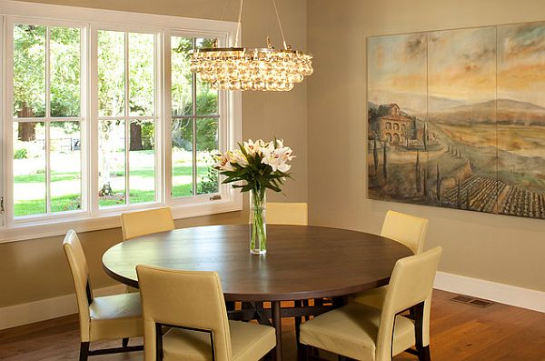 Round Dining Table And Chairs View In Gallery Room