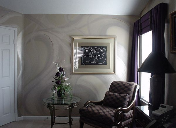 Fancy platinum wall paint with plum and black textiles