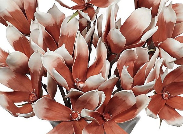 faux magnolias in burnt orange