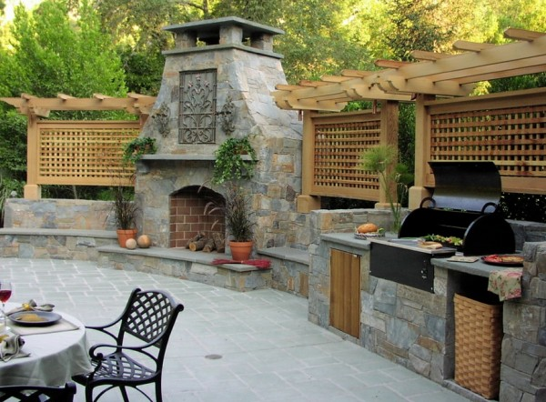fireplace and outdoor summer kitchen
