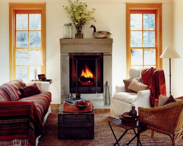 fireplace mantle autumn simple