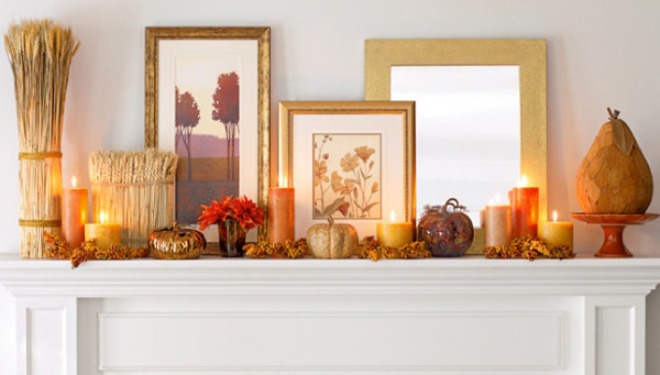 fireplace mantle ideas candles Warm Ideas for Your Autumn Fireplace Mantel