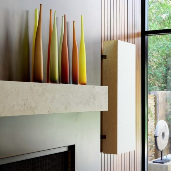 fireplace mantle modern vases