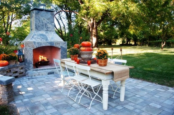 fireplace mantle outdoor fall ideas