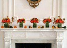 fireplace mantle small pumpkins