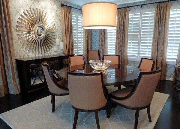 glamorous-dining-room-with-sunburst-mirror