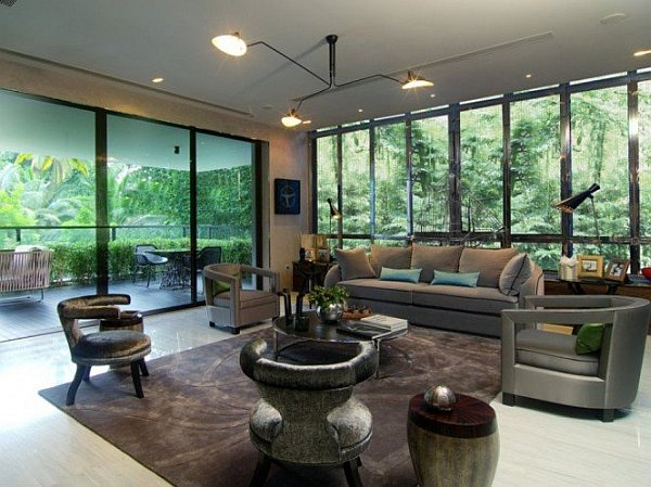 glass walls living room