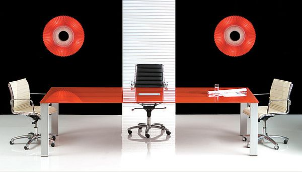 inspirational home office table with red glass
