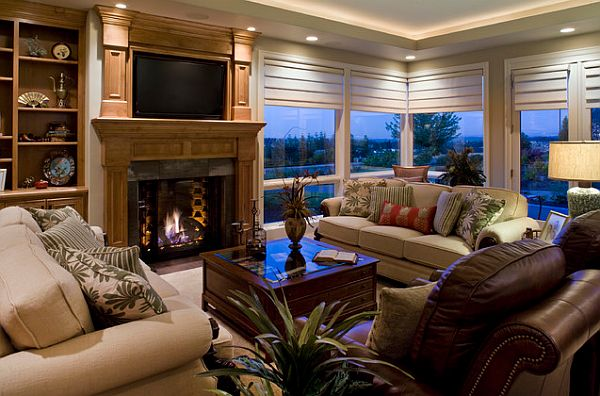 Luxury Living Room With Modern Window Treatments Decoist