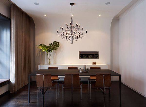 modern dining room table in central park apartment