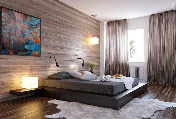 contemporary wood wall headboard view in gallery modern minimalist bedroom