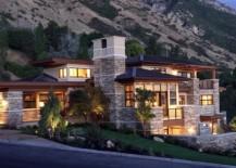 modern mountain home evening