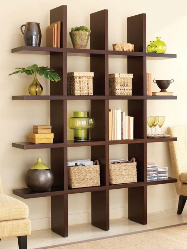 organized modern bookshelf