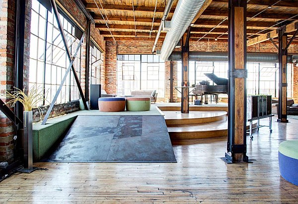 penthouse industrial feel Spacious and Exclusive Detroit Penthouse Charms With Its Industrial Interior Design