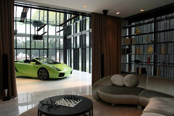 penthouse living room with a car indoors