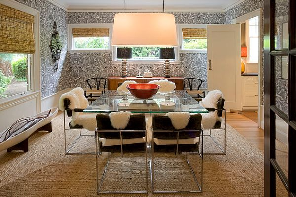 table View in gallery Posh dining room with glass. 23 Unique Dining Room Table Designs