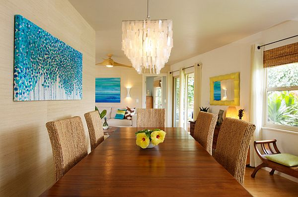 rattan chairs in colorful dining room