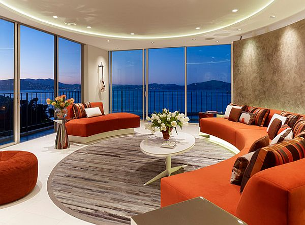 round living room with orange round sofa Filling a Round Room with Square Designs: Three Rules to Making Shapes Mesh