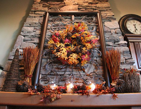 rustic autumn decorations with leaves and branches