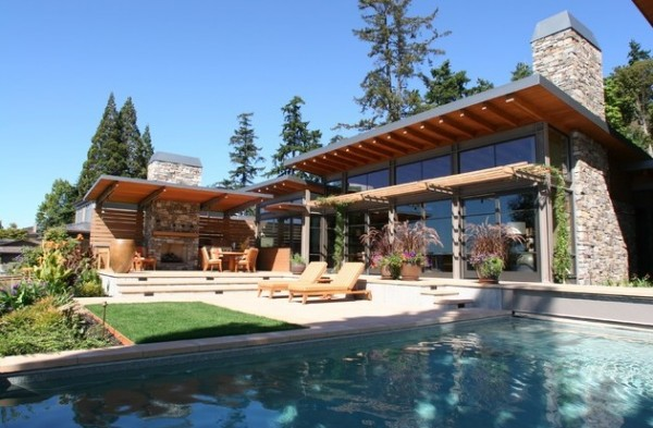 rustic outdoor home pool
