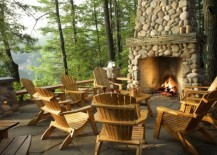 rustic outdoor porch fireplace