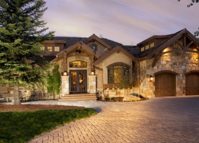 rustic stone home evening