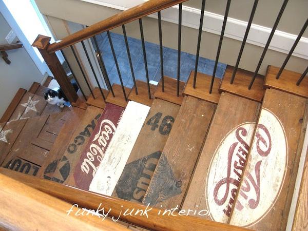 stencil stairs DIY