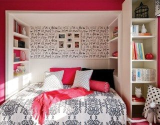 teenage girls room updated shelving
