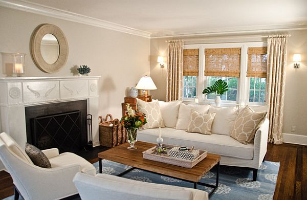 Traditional living room windows treatments for Living room window treatments