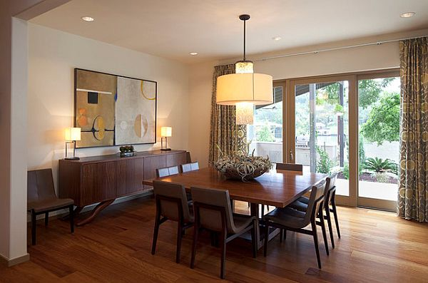 Wood Square Table In Contemporary Dining Room