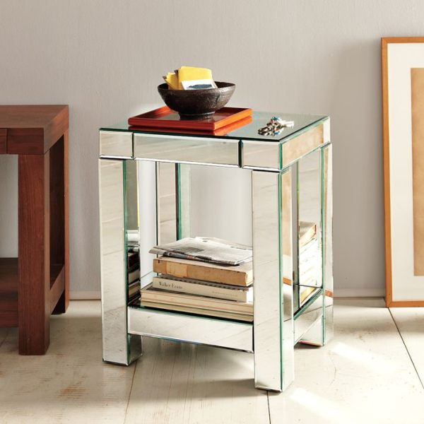 A Parsons mirrored end table Fabulous Mirrored Furniture For a Sleek Interior